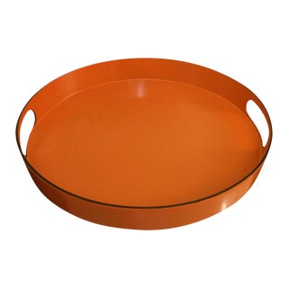 Hermes Style Orange Lacquer Serving Tray