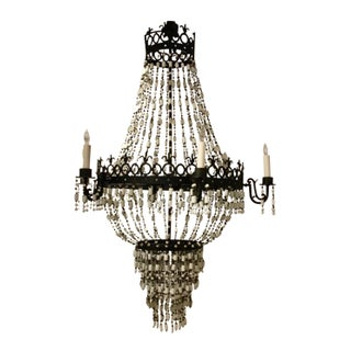 Arteriors Transitional Black and White Glass Bead Barcelona Chandelier For Sale