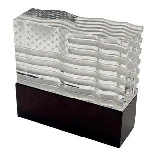 Vintage David Dowler for Steuben Glass Star Spangled Banner Crystal Sculpture For Sale