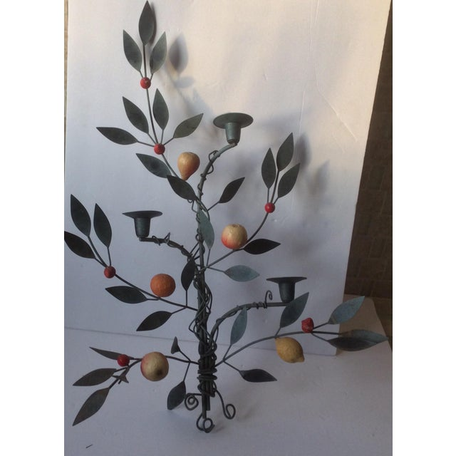 Painted Tole Candle Wall Sconce With Fruits - Image 11 of 11