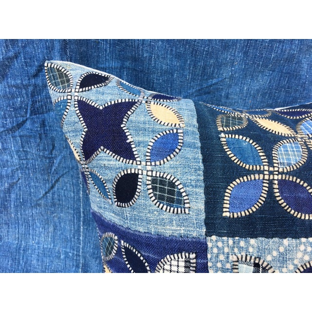 Tribal Patchwork Antique Indigo Textile Pillow - Image 4 of 9
