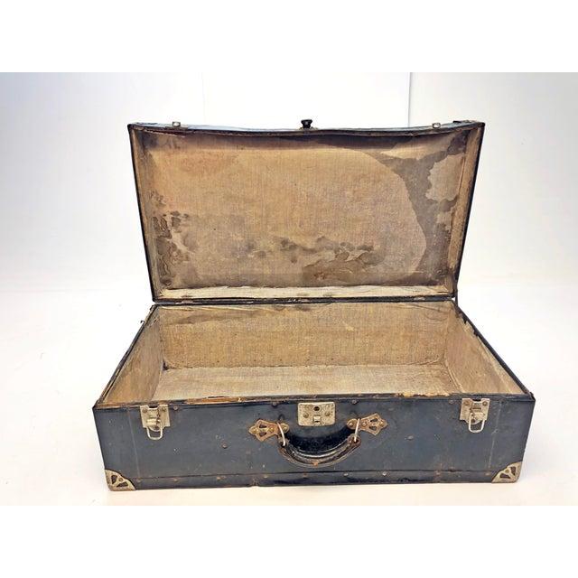 Vintage Distressed Black Metal Storage Trunk For Sale - Image 4 of 13