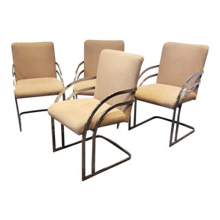 Milo Baughman for Thayer Coggin Cantilever Chrome Dining Chairs -Set of 4 For Sale