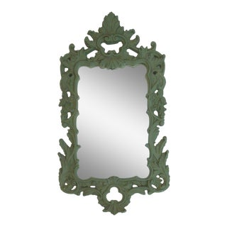 """Tall 48"""" Verdigris Green French Italian Carved Mirror For Sale"""