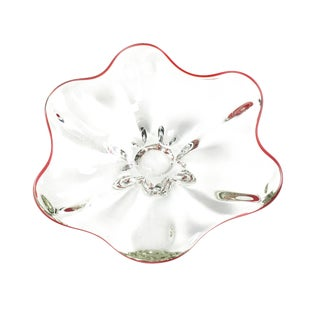 Vintage Hand Blown Thick Glass Bowl For Sale