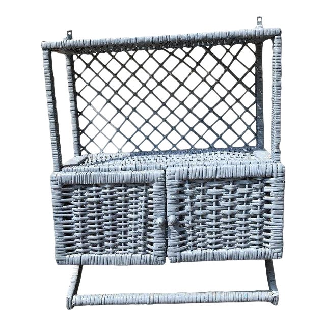 Vintage Blue Wicker Wall Cabinet With Towel Rack - Image 1 of 4