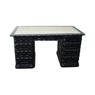 High Quality Ebonized Black Lacquer Faux Bamboo Leather Top Executive Desk For Sale