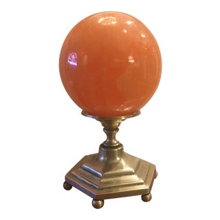 Solid Agate and Cast Brass Sphere For Sale