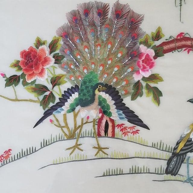 Vintage Chinese Suzhou Embroidery Peacock Art For Sale - Image 4 of 10