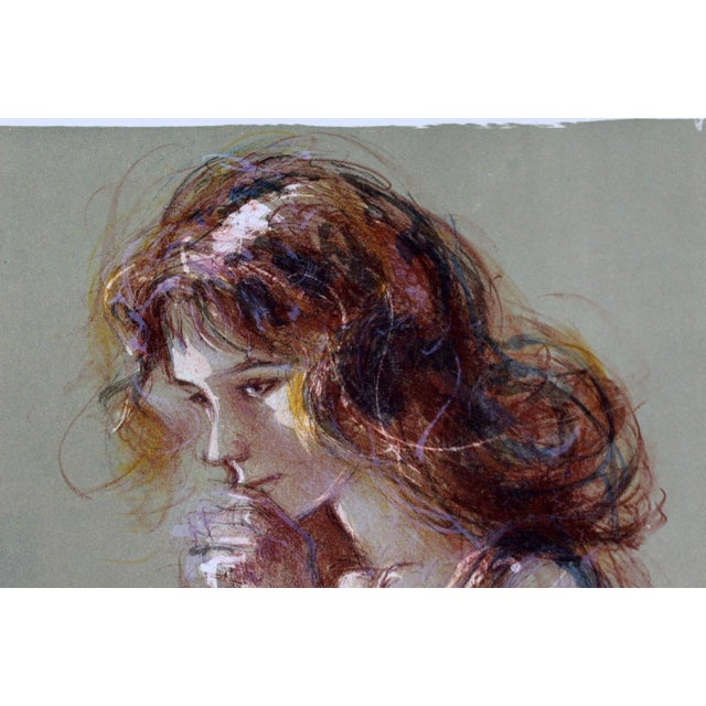 Mid-Century Modern Jacques Pecnard Signed Artist Proof Print Portrait Girl Thinking For Sale - Image 3 of 6