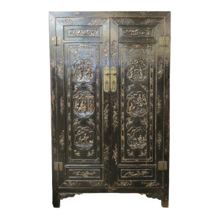 Antique Chinese Black Wedding Wardrobe Cabinet With Gold Carvings For Sale