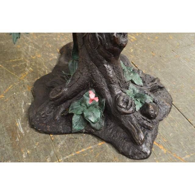 Cold Painted Bronze Large Statue of Jungle Birds on a Tree For Sale - Image 12 of 13