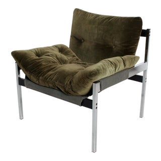 Mid Century Modern Safari Lounge Chair With Olive Green Velvet For Sale