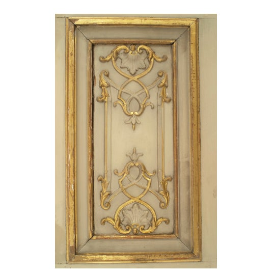 Set of eight late 19th century French Louis XV style parcel-gilt and ivory painted doors with ormolu hardware and steel...