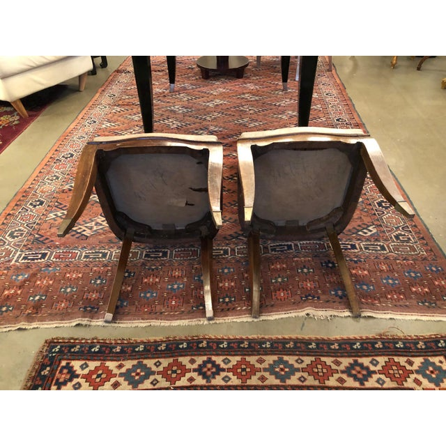 1930s Vintage French Art Deco Mahogany Faux Shagreen Dining Chairs - a Pair For Sale In Minneapolis - Image 6 of 11