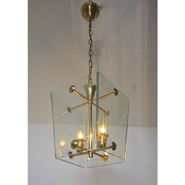 1950s Italian Fontana Arte Style Hall Entry Glass Pendant For Sale In Dallas - Image 6 of 13