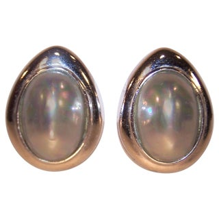 1980's Ciner Egg Shaped Silver Tone Pearl Earrings For Sale