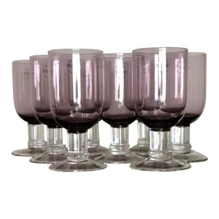 Dansk Genna Amethyst and Clear Modern Wine Glasses - Set of 8, New With Tags For Sale