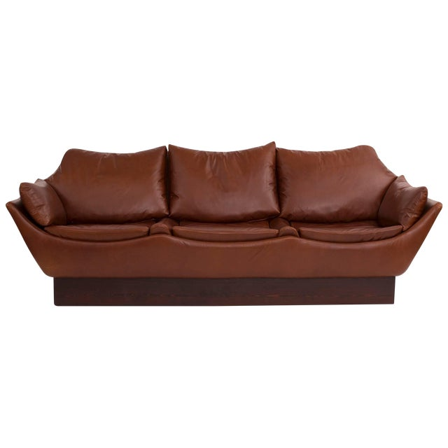 Sculptural Danish Leather & Down Sofa For Sale