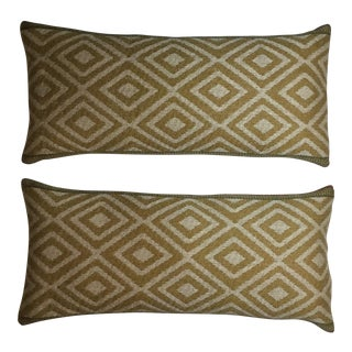 Vintage Brown Geometric Textile Lumbar Pillows - a Pair