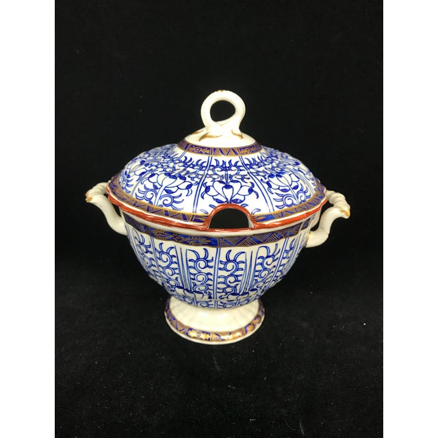 19th Century Victorian Blue & White China Lidded Serving Dishes - a Pair For Sale - Image 4 of 11