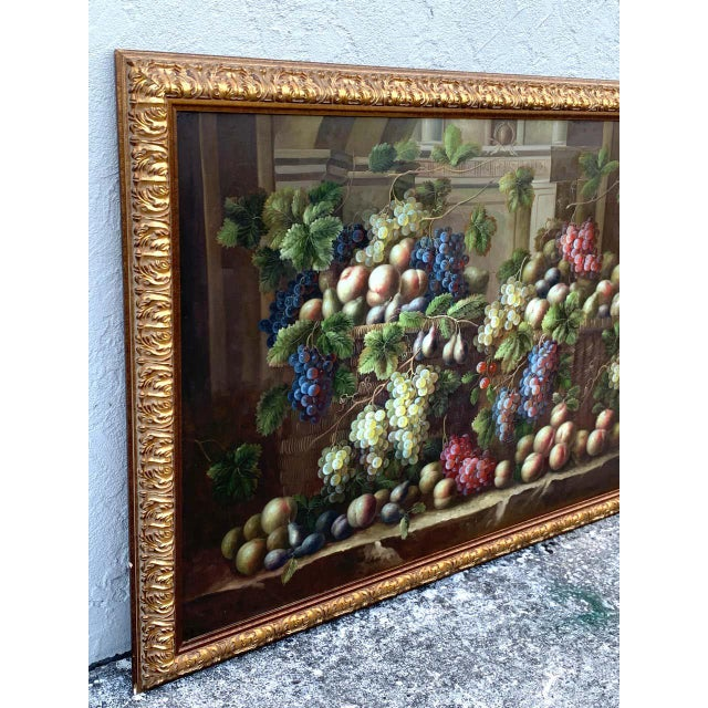 European Still Life of Grapes on a Ledge, Unsigned For Sale - Image 9 of 11
