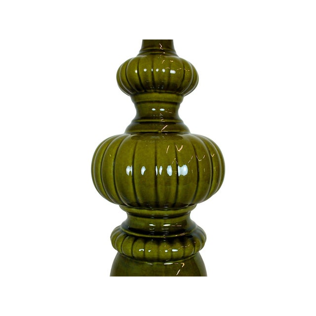 Mid-Century Modern Green Pottery Lamp - Image 2 of 4