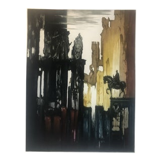 "Large Color Aquatint ""Medamothi"" by Roger Hebbelinck, 1950s For Sale"