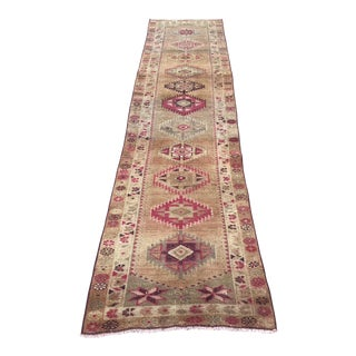 1960s Turkish Handwoven Wool Long Runner Rug For Sale