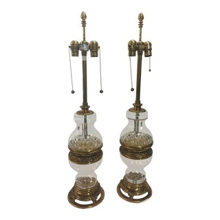 Marbro Lamps Crystal & Brass Table Lamps For Sale