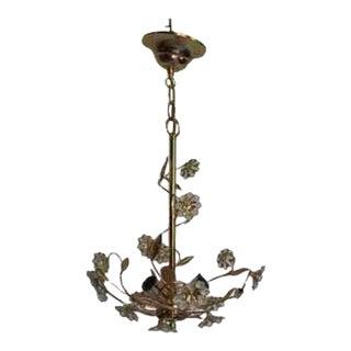 "C1960 Mid Century Modern German Designed ""Palwa"" Crystal Flower Dore Chandelier For Sale"