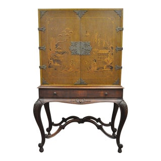 Antique Chinoiserie George III Style Hand Painted Highboy Chest Cabinet Cupboard For Sale