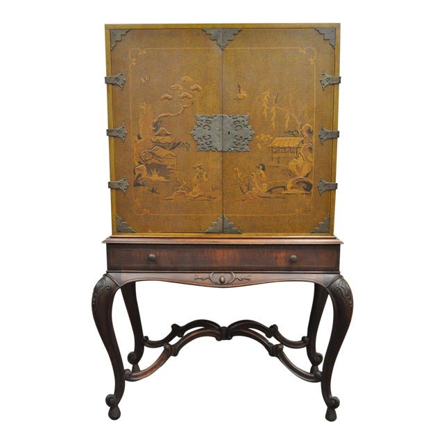 Antique Chinoiserie George III Style Hand Painted Highboy Chest Cabinet  Cupboard - Antique Chinoiserie George III Style Hand Painted Highboy Chest