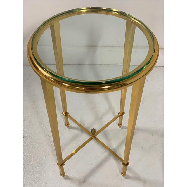 French Gilt Bronze and Glass Gueridon Table For Sale - Image 4 of 8