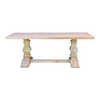 Bleached Chic Farmhouse Dining Table For Sale
