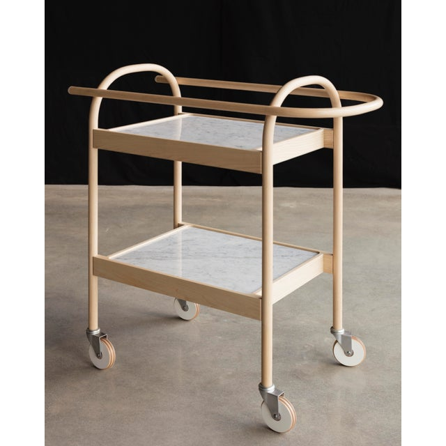 Contemporary U3 Bar Cart / Serving Trolly in Ash & White Carrara Marble For Sale - Image 3 of 6