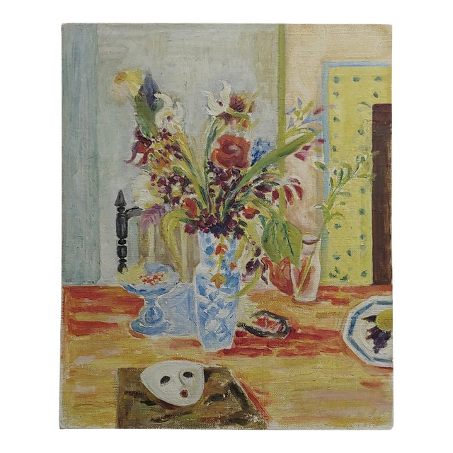 Jules Cavailles -Still Life of Flowers and a Mask -Study Oil Painting-1956 For Sale