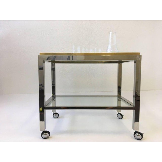 Modern Chrome and Brass Bar Cart by Renato Zevi For Sale - Image 3 of 10