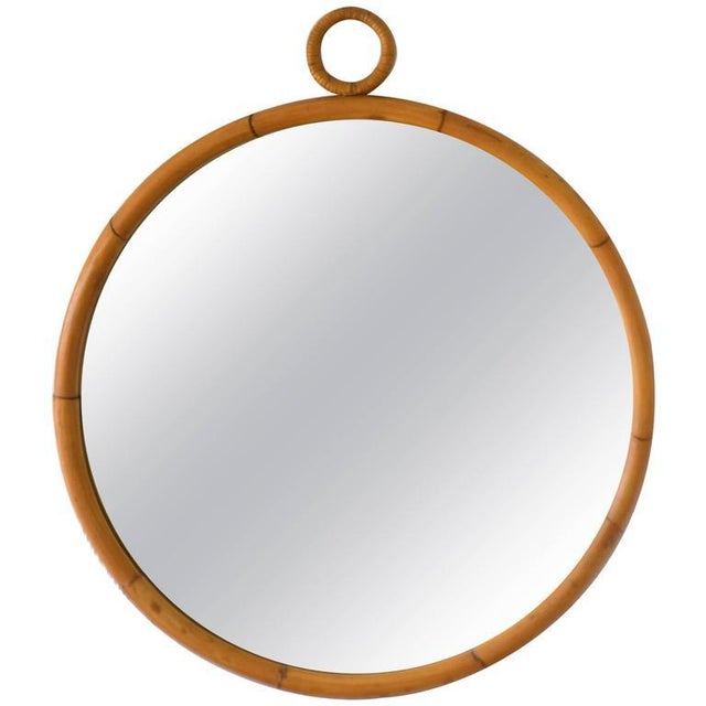 Mid-Century Bamboo Wall Mirror - Image 3 of 5