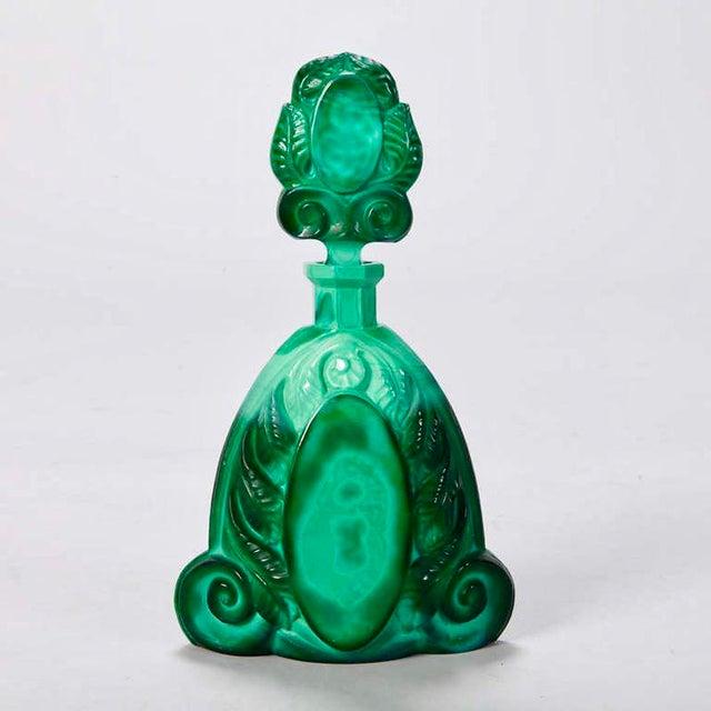 Art Deco Boho Malachite Glass Decanter Set of 6 - Image 6 of 9
