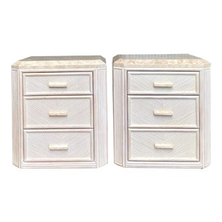 Vintage Coastal Pencil Reed and Tessellated Stone Nightstands - For Sale