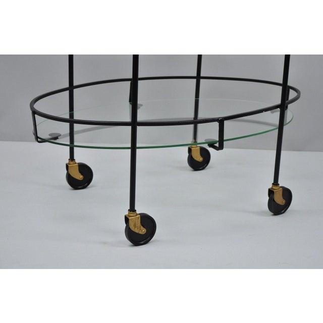 Vintage Metal Iron & Glass Atomic Era Oval Rolling Bar Cart For Sale - Image 9 of 13
