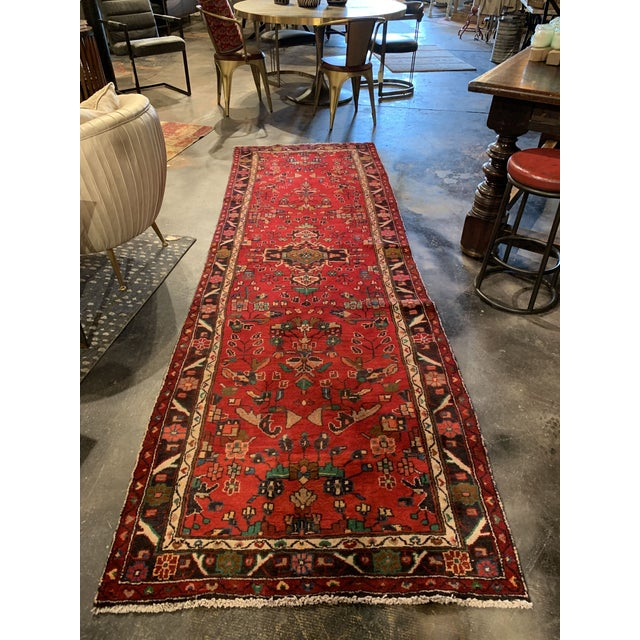 """Mid 20th Century Hand-Tied Persian Saruq Wool Runner Rug - 3′6″ × 10' 7"""" For Sale - Image 5 of 12"""