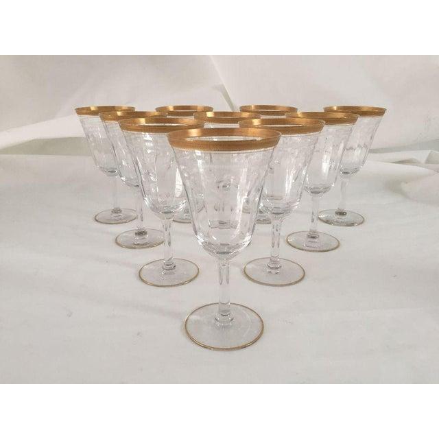 Glass Vintage Gold Rim Etched Wine Glasses - Set of 10 For Sale - Image 7 of 7
