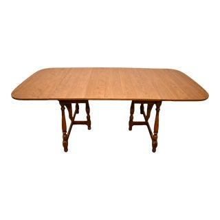 "Vintage Ethan Allen Heirloom Nutmeg Maple 82"" Butterfly Drop-Leaf Dining Table For Sale"
