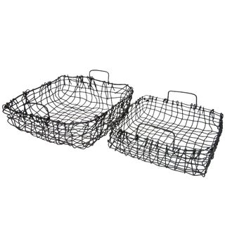 Vintage Rustic Wire Railway Baskets - A Pair