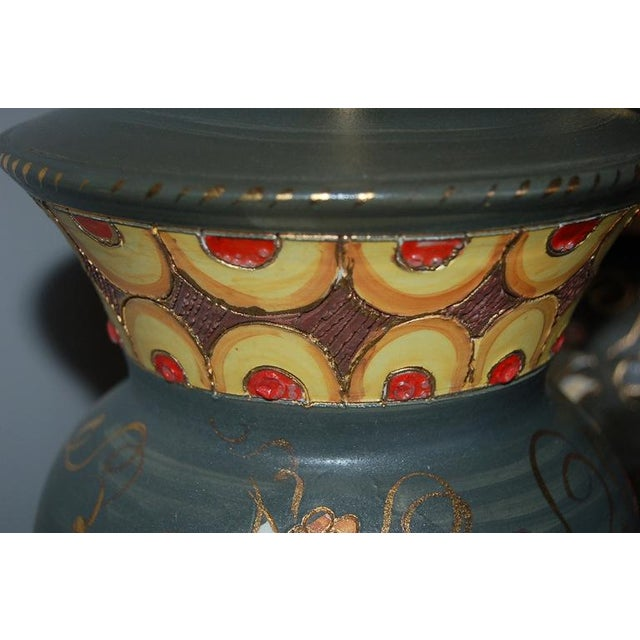 Vintage Italian Ceramic Deruta Hand Painted Lamps For Sale In Little Rock - Image 6 of 11