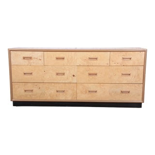 Milo Baughman Style Burl Wood Dresser or Credenza by Henredon For Sale