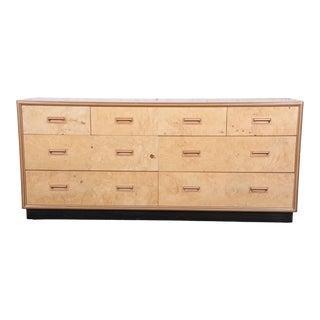 Milo Baughman Style Burl Wood Dresser or Credenza by Henredon For Sale