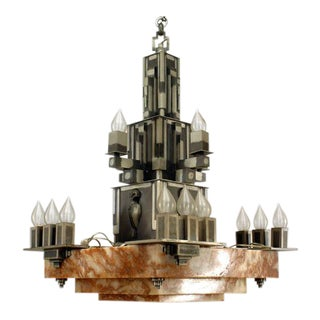 1930s French Art Deco 16 Light Chandelier For Sale